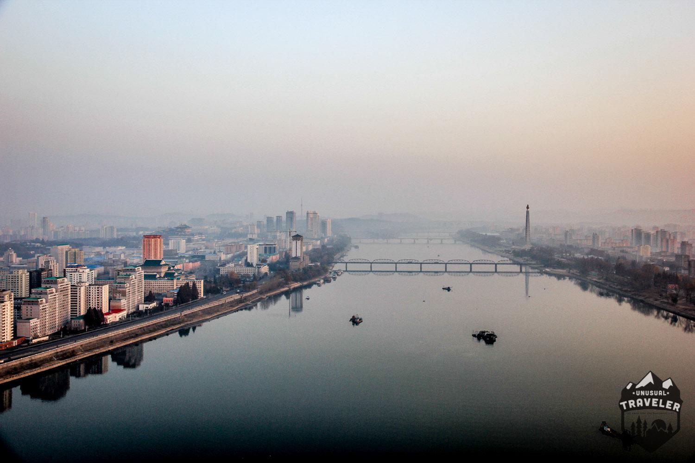 northkorea,north korea,asia,china,bridge,skyline,pyongyang,view