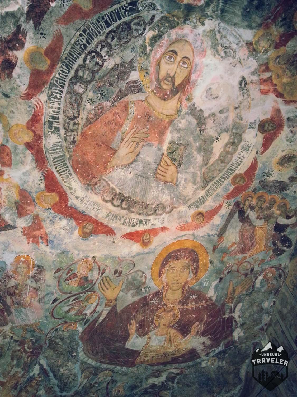 paintings in Sumela Monastery in Turkey
