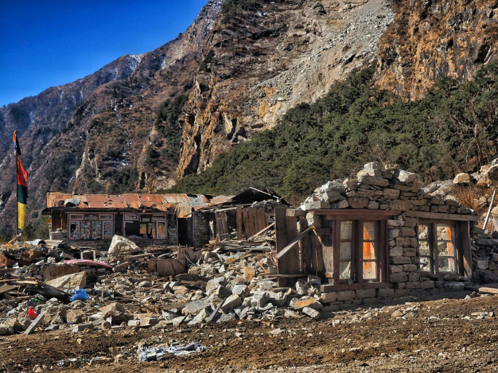 Not much left of what used to be a guesthouse in Langtang Valley.. This is whats left of Thyangsyap Village