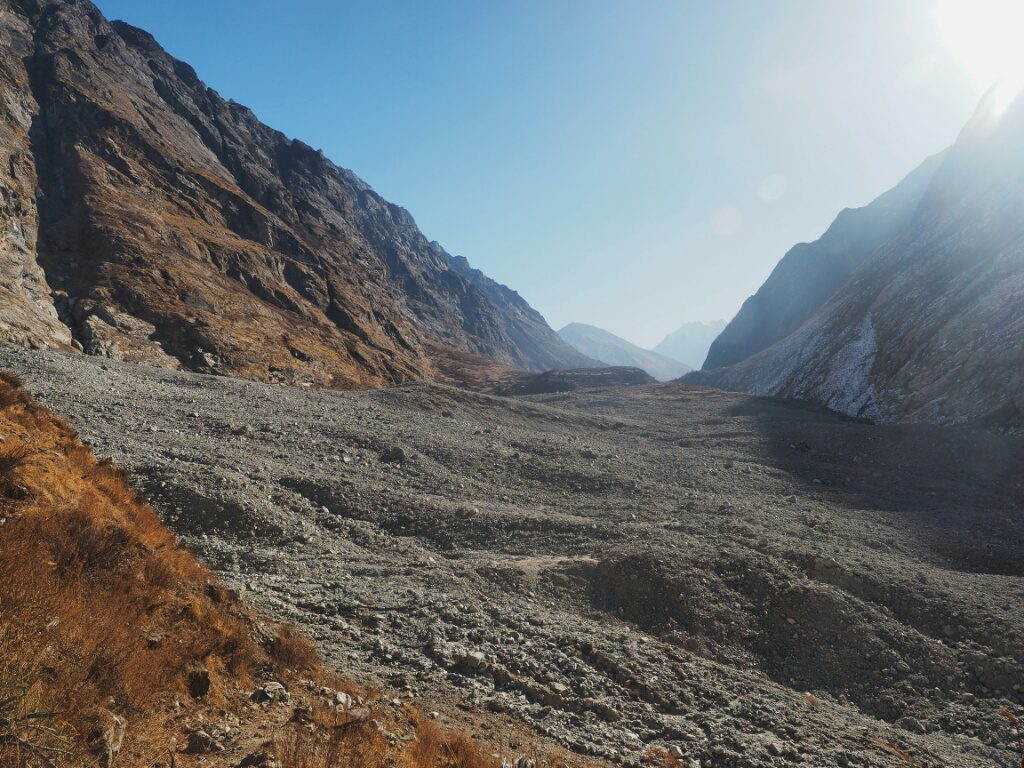 Where Langtang Village used to be, before it got swaped away from the landslide. The path goes straight across