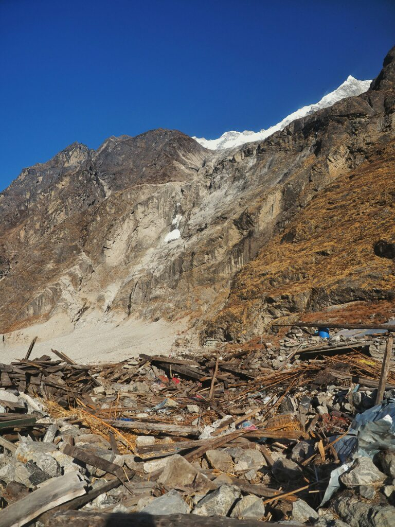 Just rubels left of Langtang Village after the earthquake
