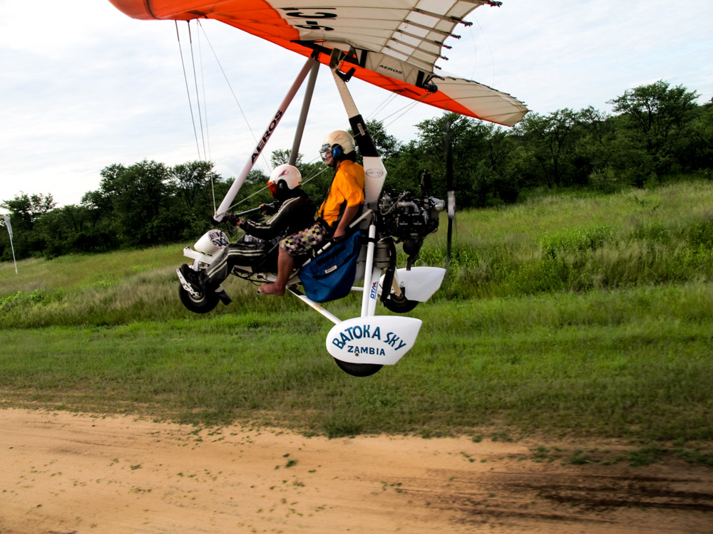 Take off for micro flight over Victoria Falls