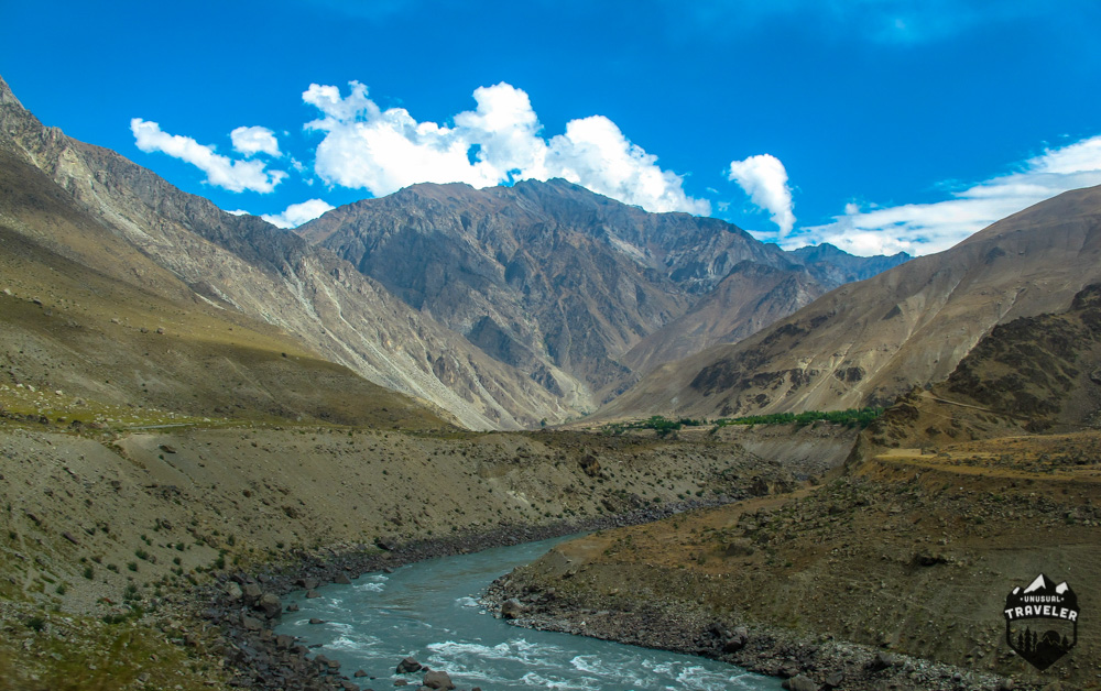 Tajikistan Afghanistan border in central asia