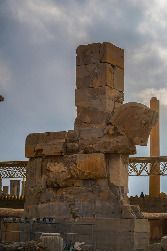old stone horse in Persepolis