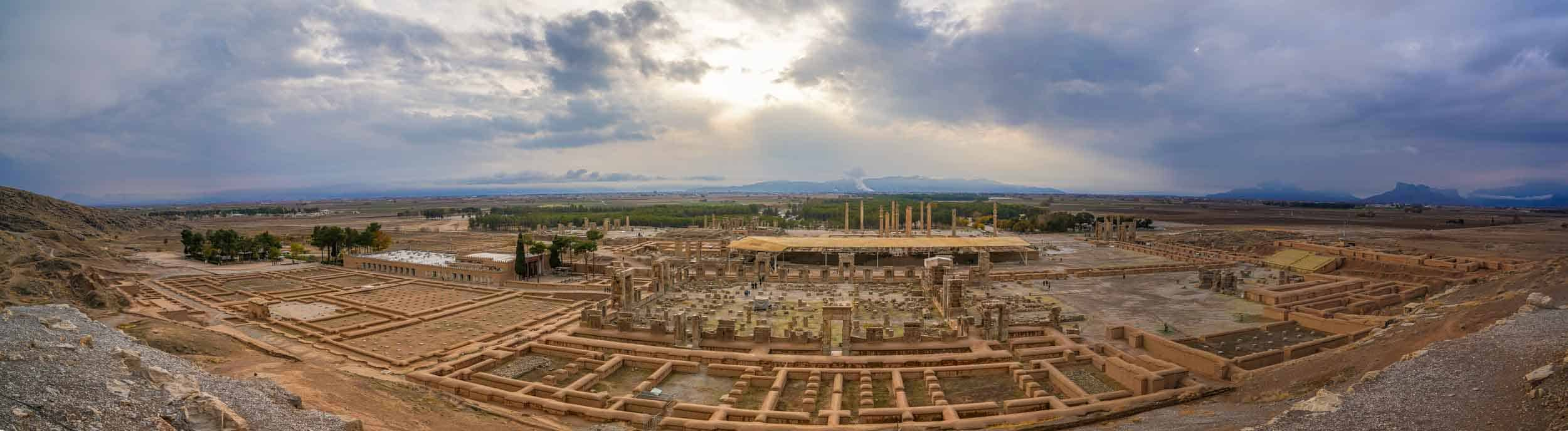 Panorama of Persepolis from the hill in the behind it, in iran