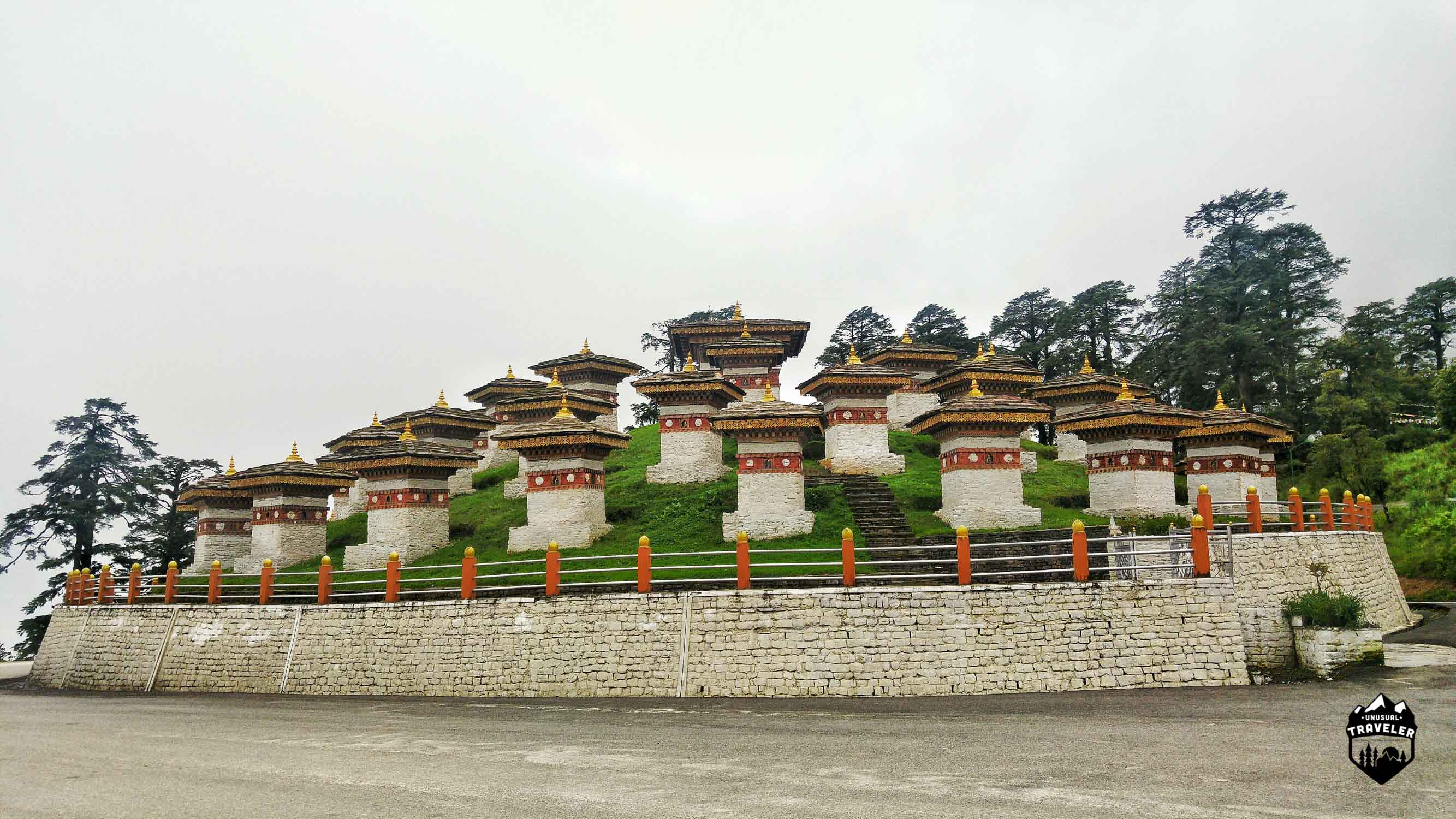 Some of the 108 stupas called chortens in English
