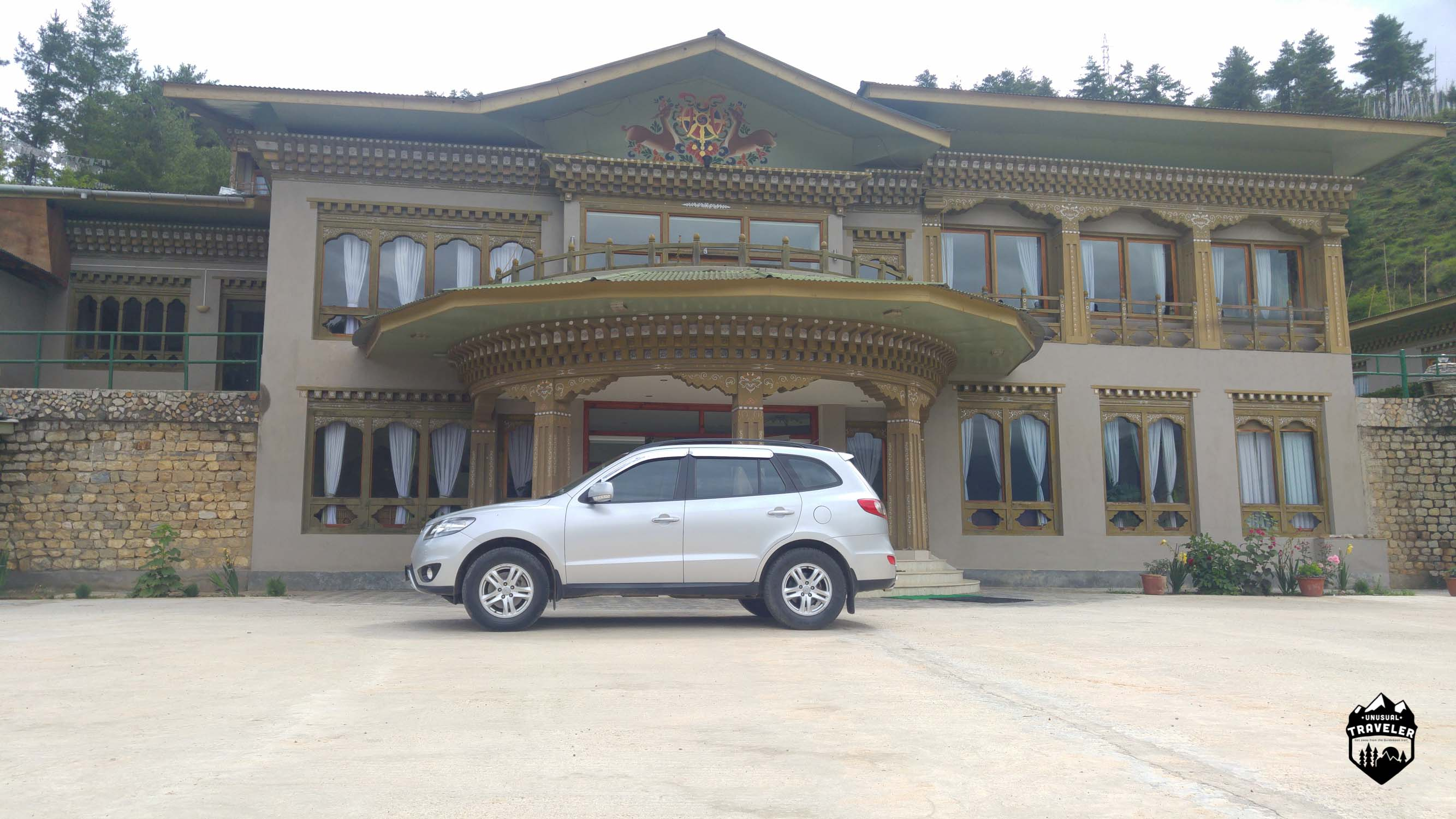 """My car"" during my stay in Bhutan, in front of my hotel in Paro."