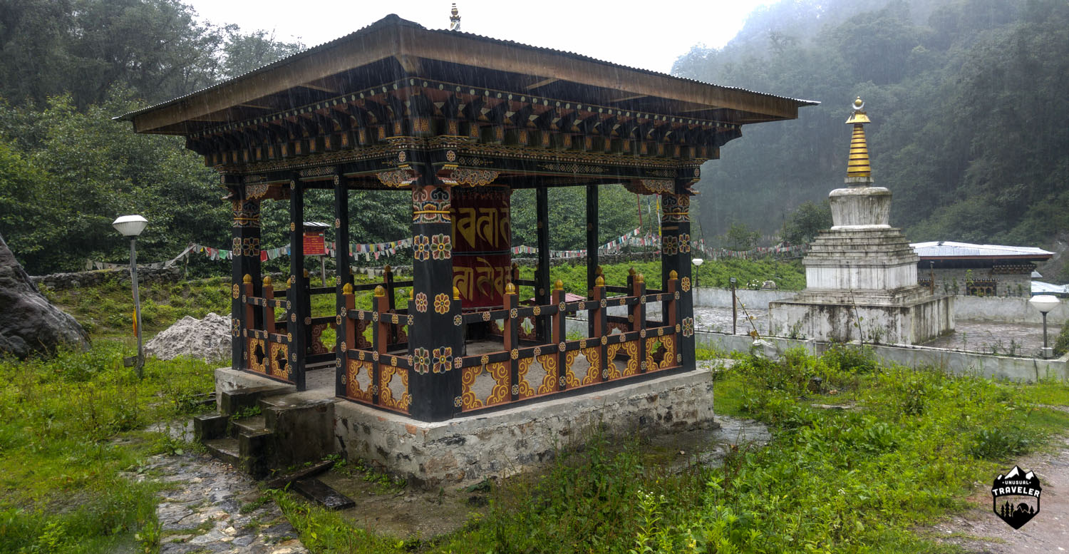 The small stumpa and temple that was built to protect the area from future floods.