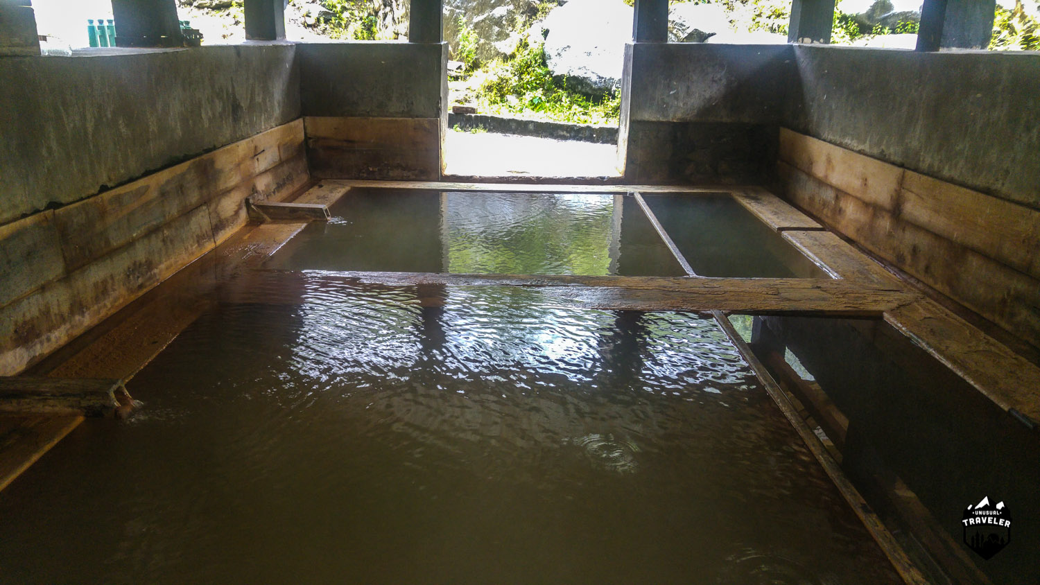 Two of the complexes hold two hot springs inside, the small section on the right is more sallow and made for kids.