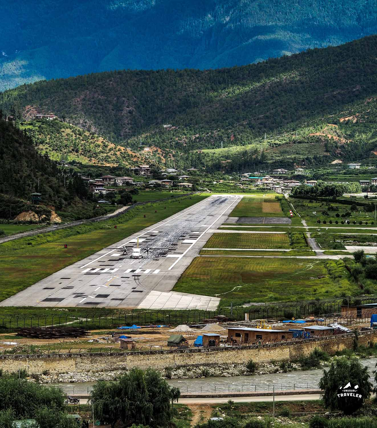 Overview over Paro International Airport. Only one runway.