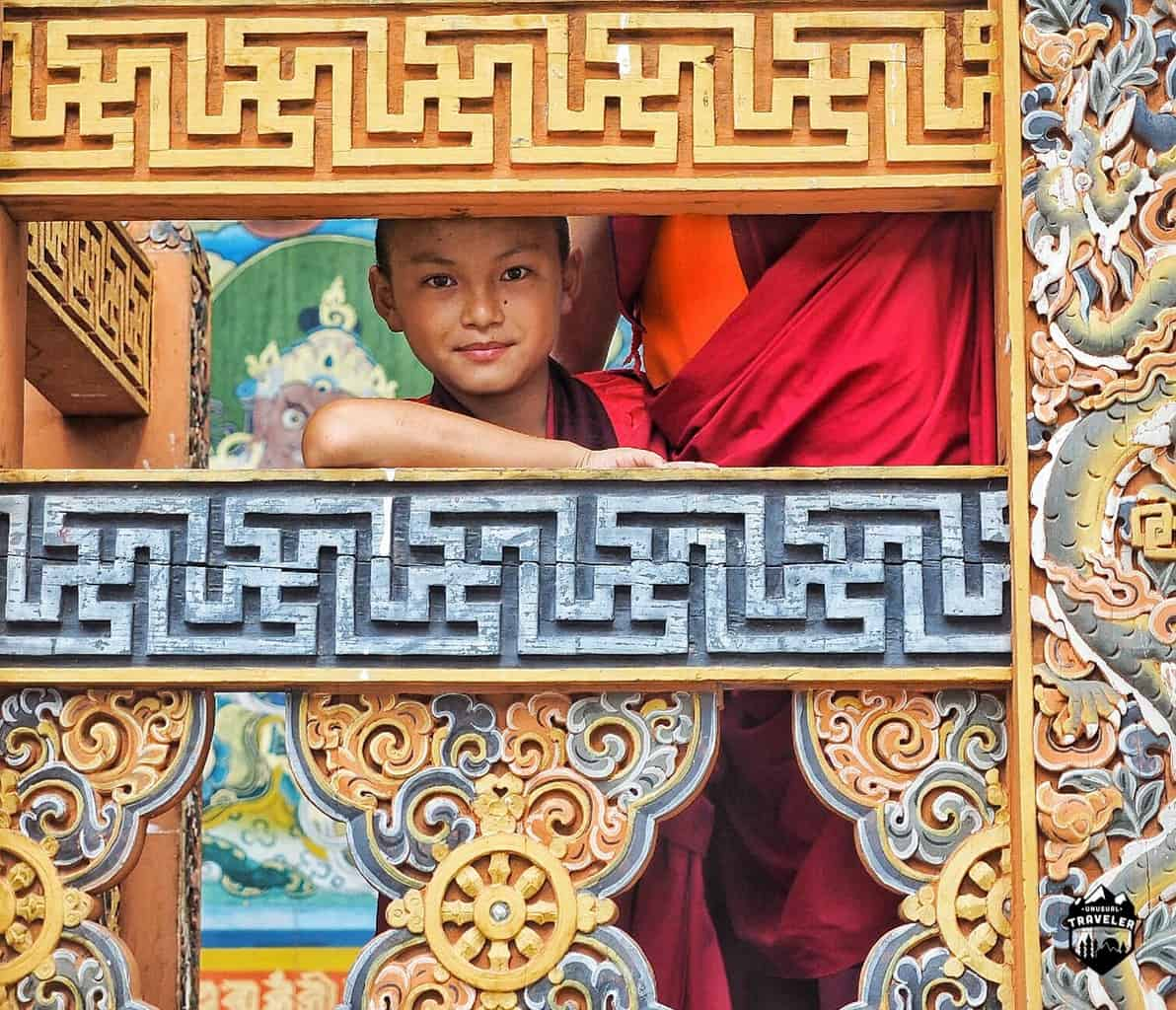 A young monk inside Punakha Dzong, the locals are always smiling.