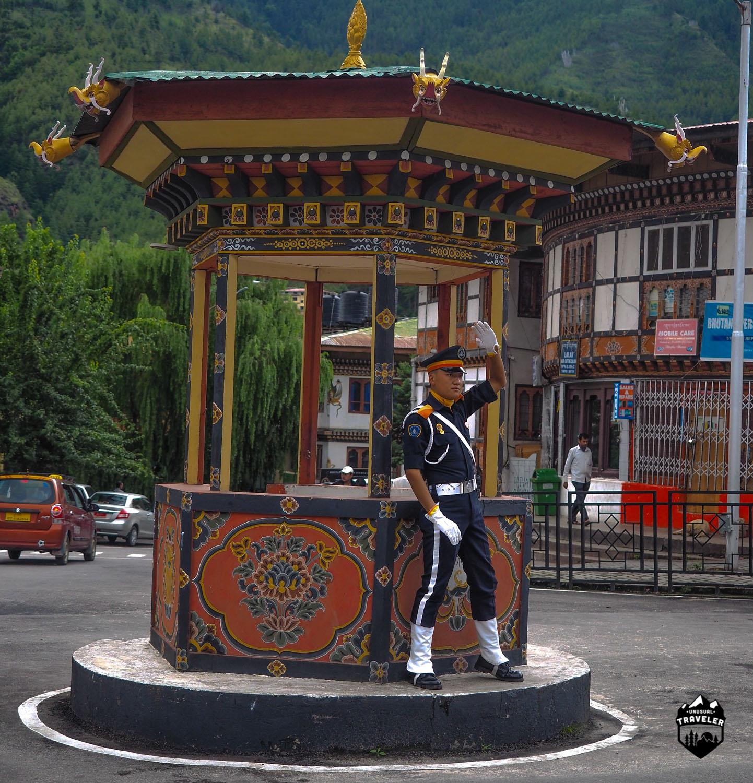 The human traffic light in Thimphu