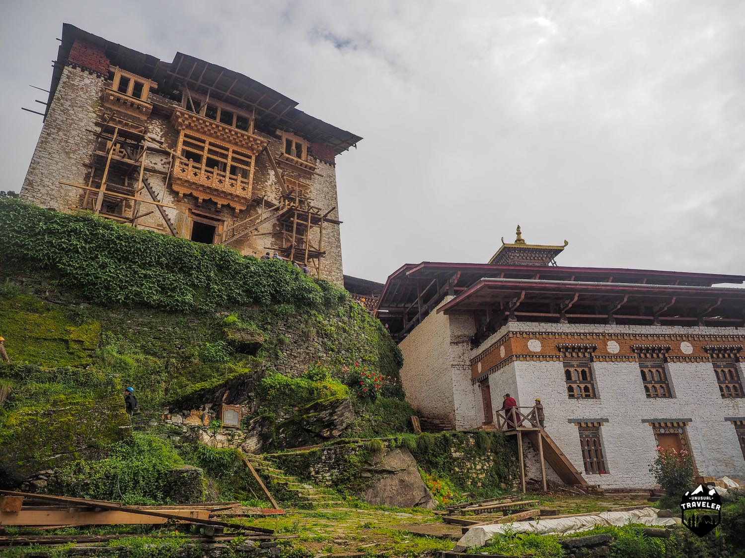 Reconstruction undergoing on the main tower inside the Dzong
