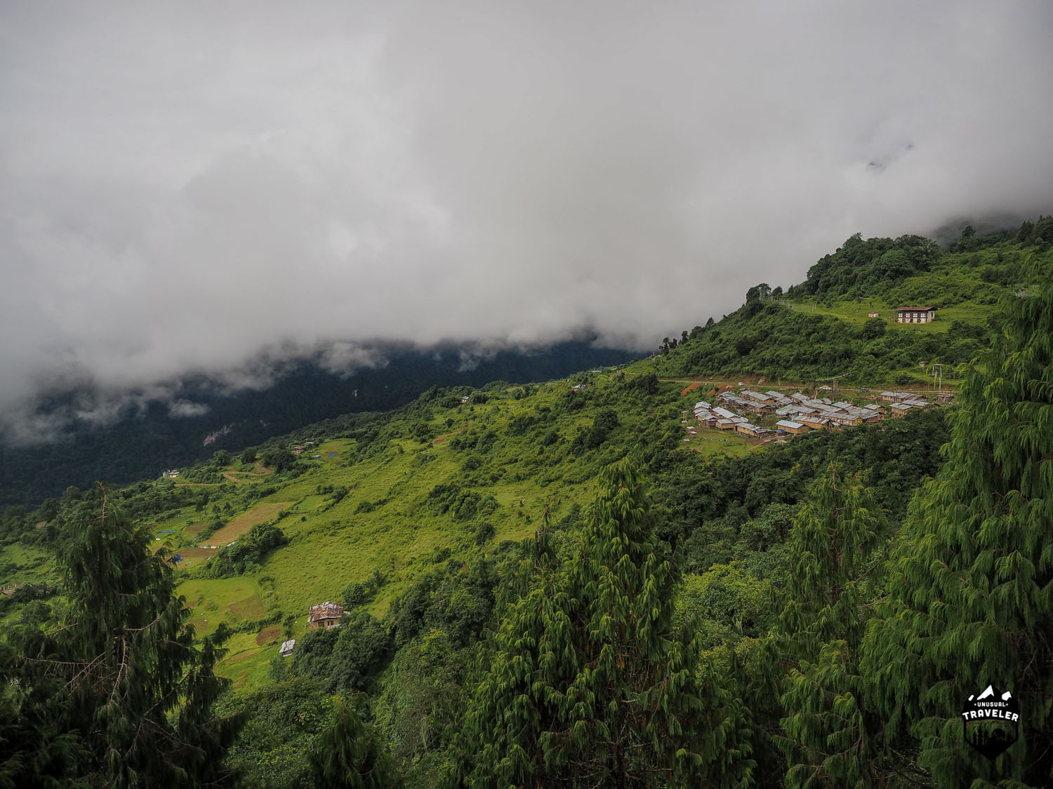 The view over the valley as seen from the Dzong