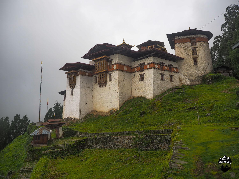 Gasa Dzong as seen on a rainy day