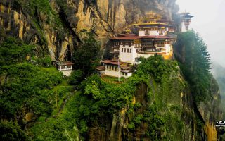 The Tiger Nest Monastery on a rainy day.