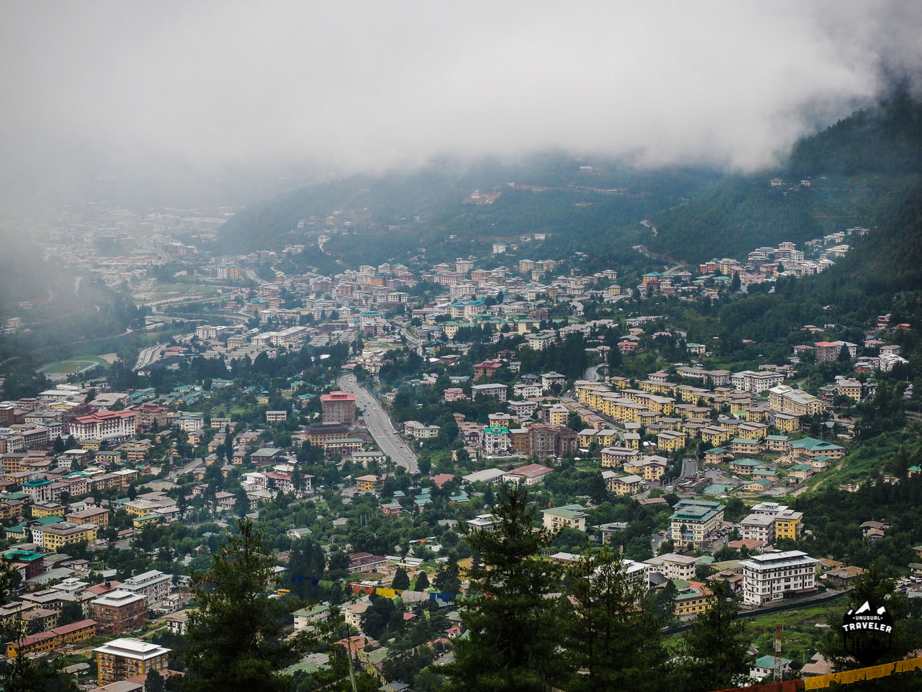 Thimphu as seen from one of the higher points around the city.