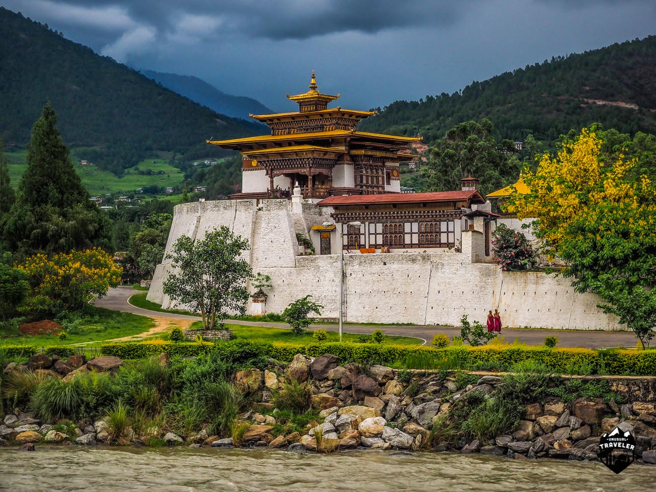 The Northern guard tower just outside the Dzong in Punakha