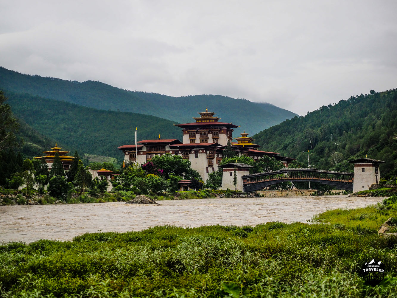 Punakha Dzong as seen from the North.