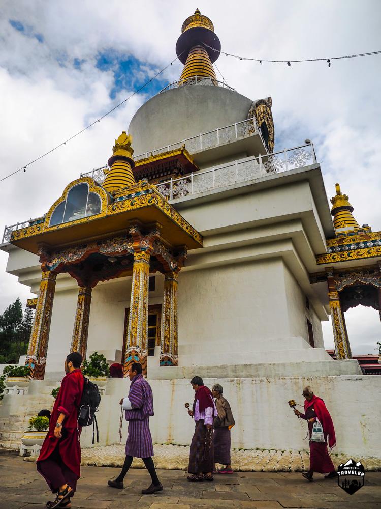Some devoted Buddhist doing the kora around the stumpa.