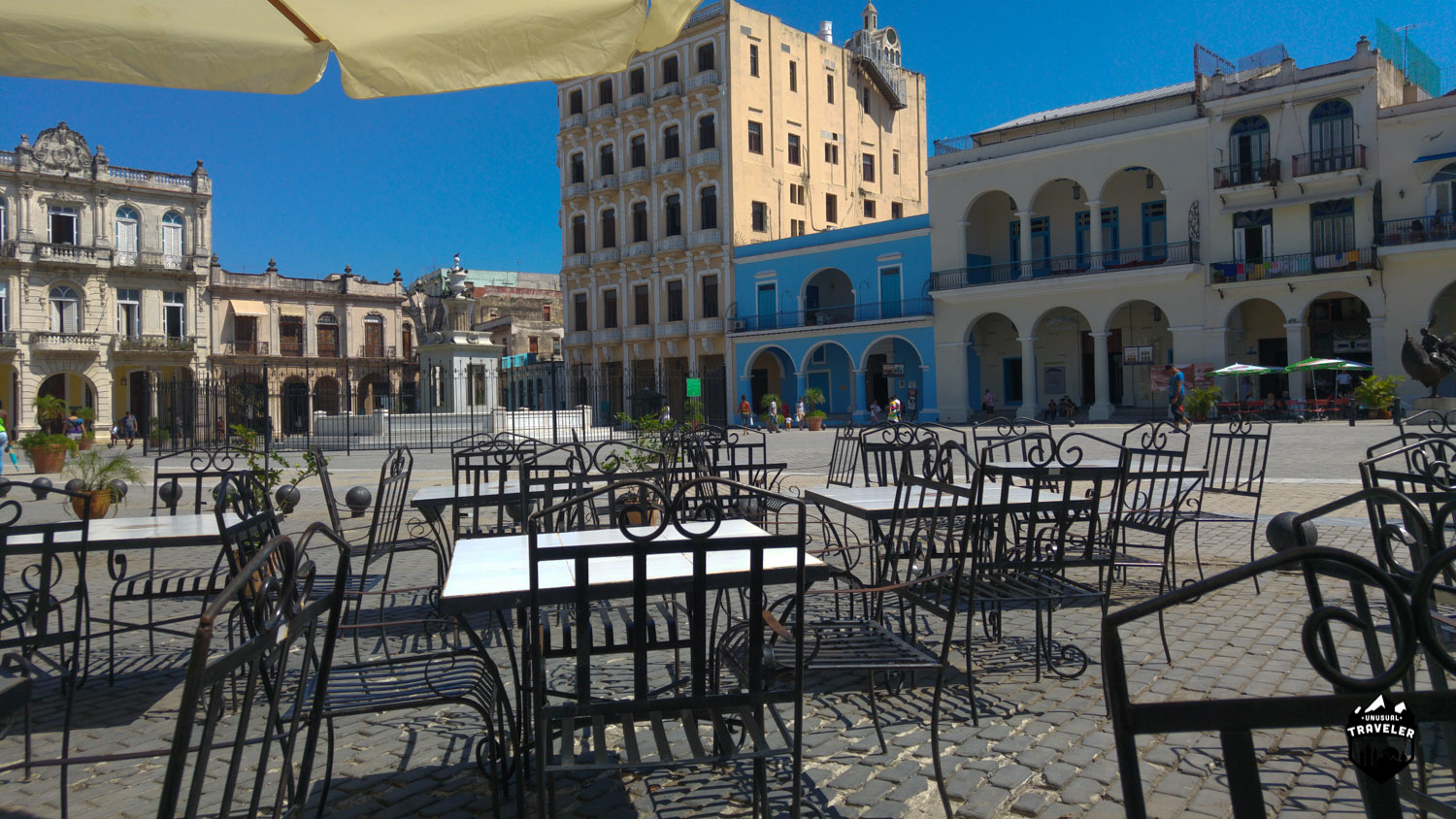 The outside area at Factoria Plaza Vieja before it opens. Nice and calm in Havana Cuba