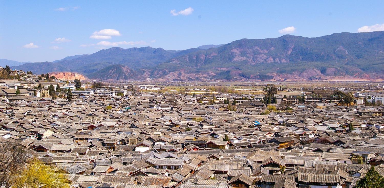 Lijiang old town as seen from Wangu Temple