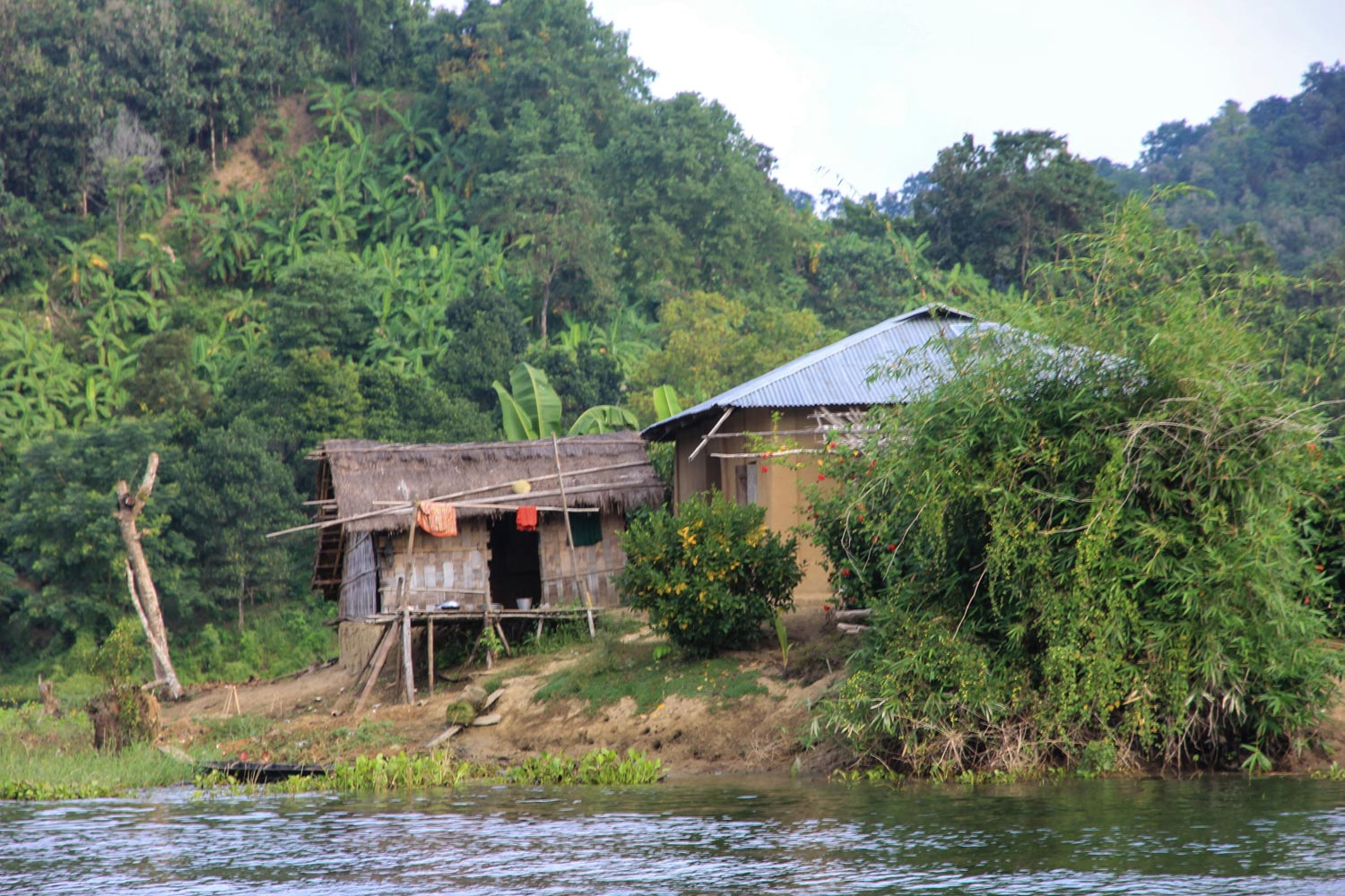 A small communty on the lake in Chittagong hill tracks