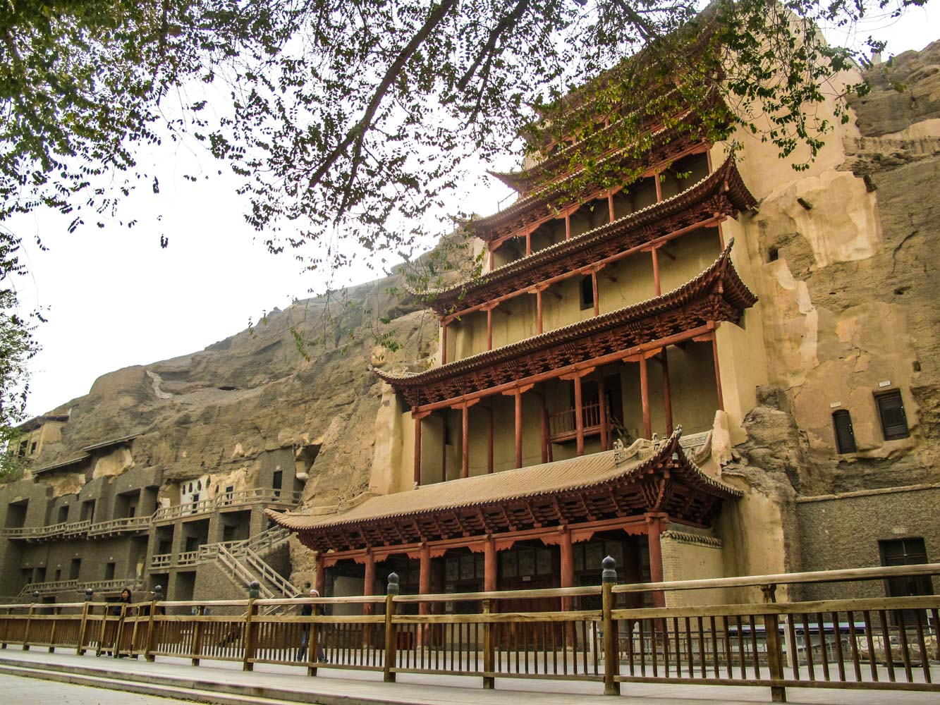 The outside of the Mogao Caves, the´s no photos allowed inside the caves, Dunhuang