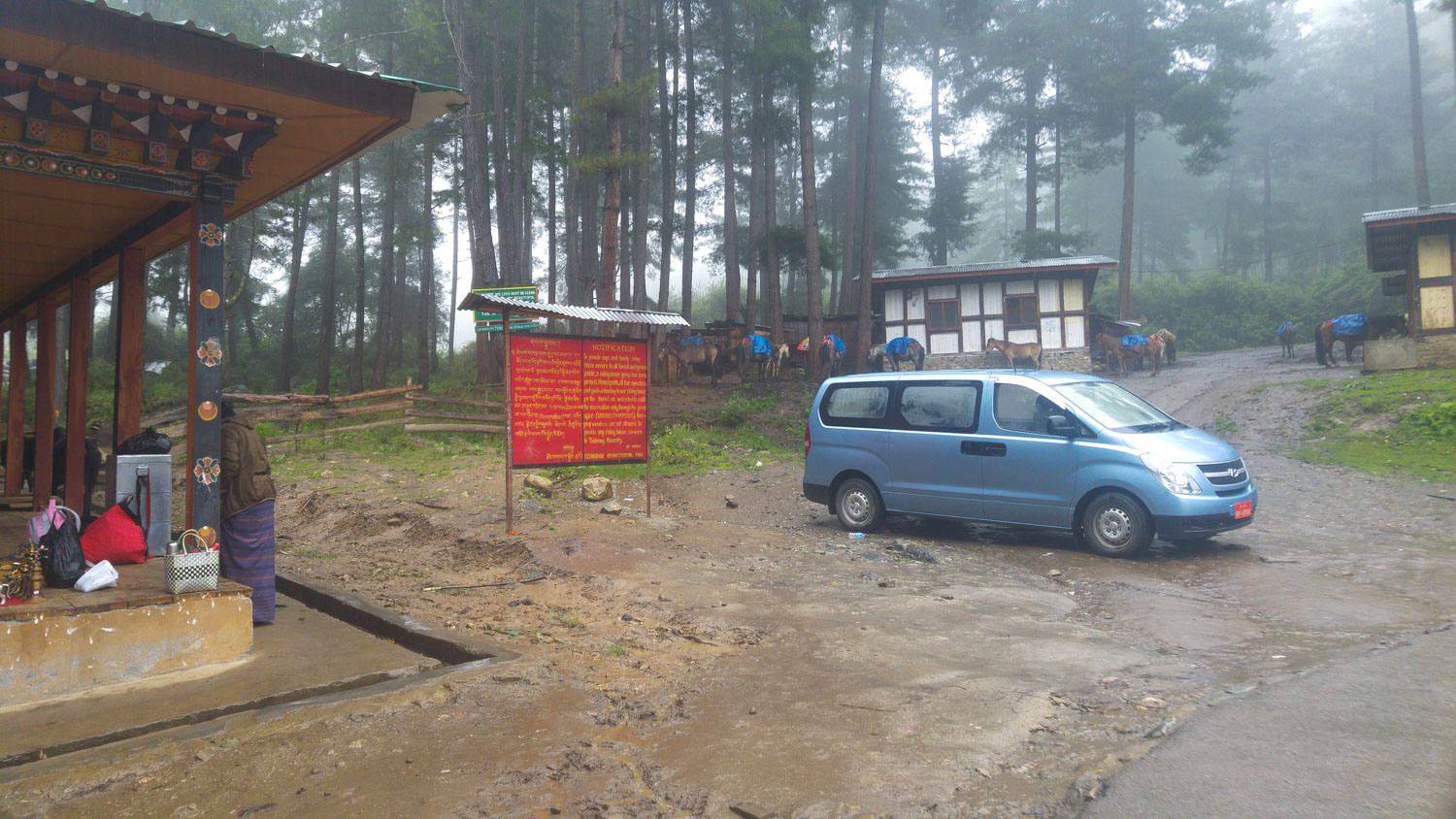 Raining in Bhutan on the way to the Tiger Nest Monastery the most famous landmark in the country
