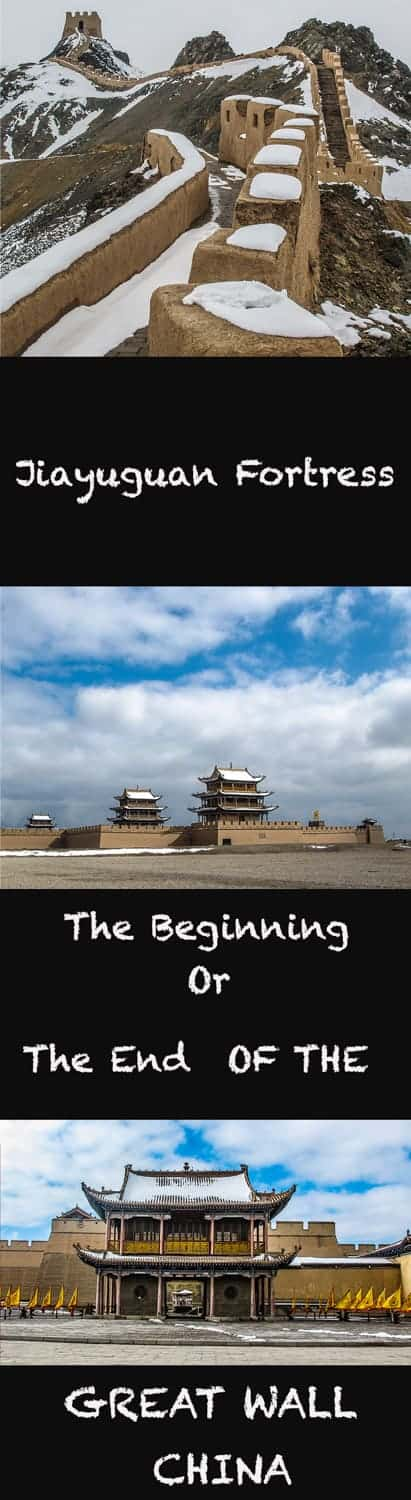 Within the Gansu province of Northwestern China lies the Jiayuguan Fortress. It creates either the beginning or the end of the Great Wall (depending on which direction you started from).