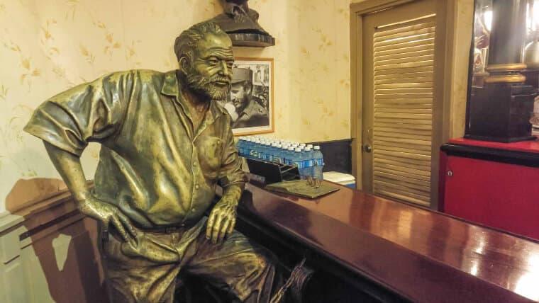Hemingway statue inside El Floridita in Havana, Cuba