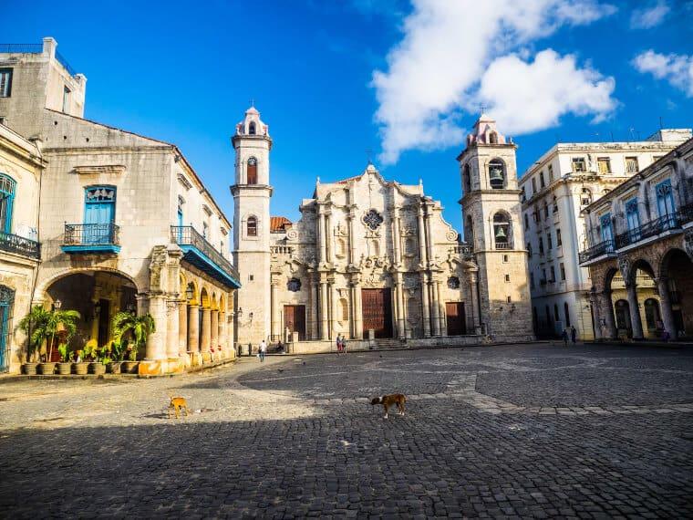 Sunbathed Plaza de la Catedral in Havana, Cuba