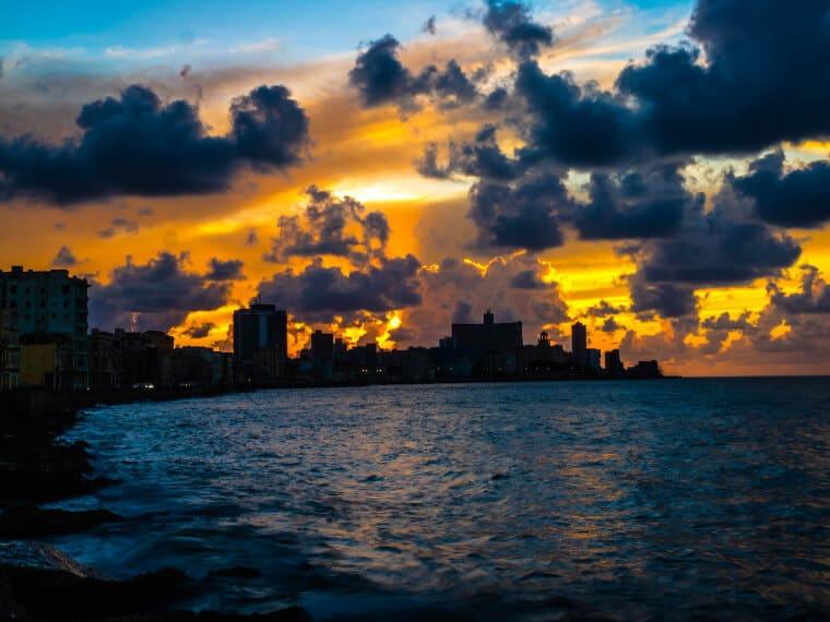 Cloudy sunset in Havana, Cuba