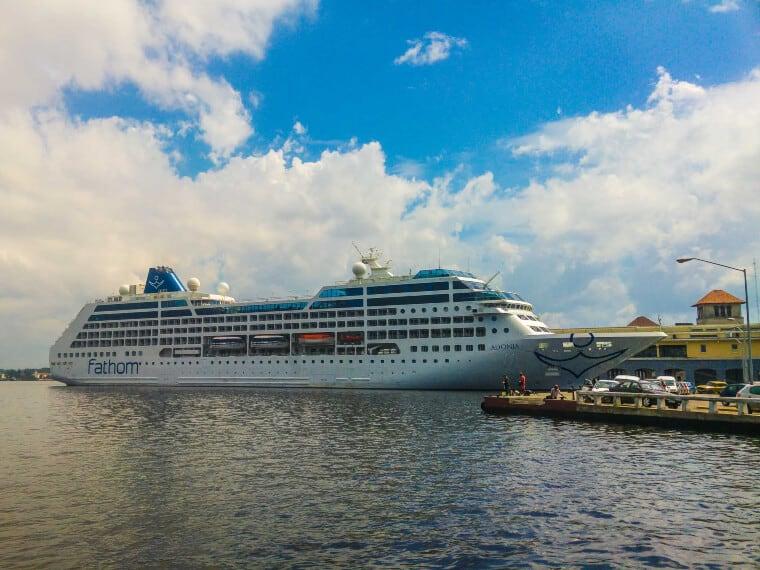 A cruise ship docked in Havana, Cuba