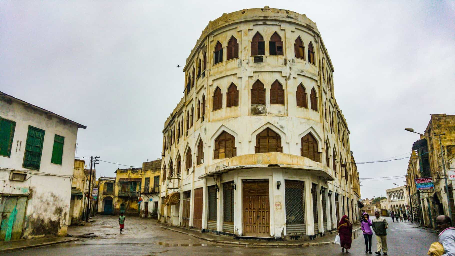 """The """"Hotel Torino"""" built in 1938. now closed down in Massawa"""