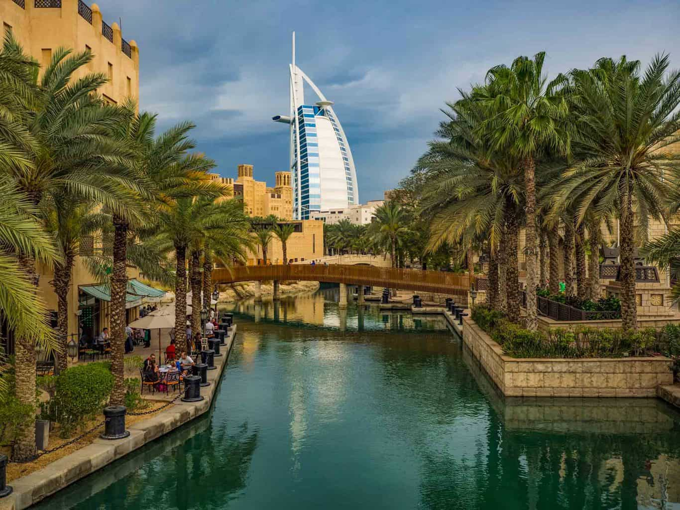 Madinat Jumeirah in Dubai with the famous Burj Al Arab hotel in the background travel guide