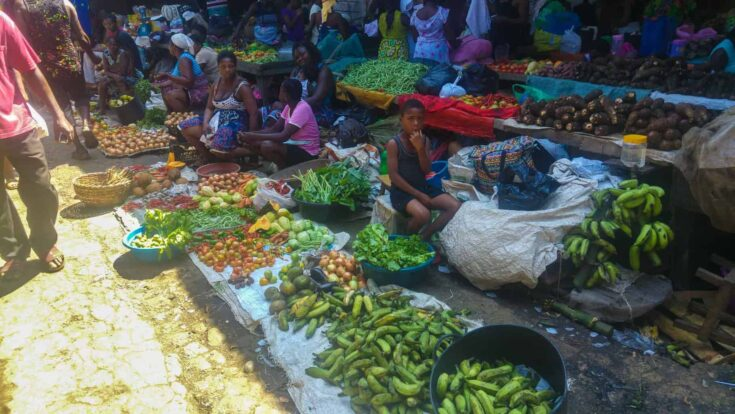 local fruit market in Sao Tome