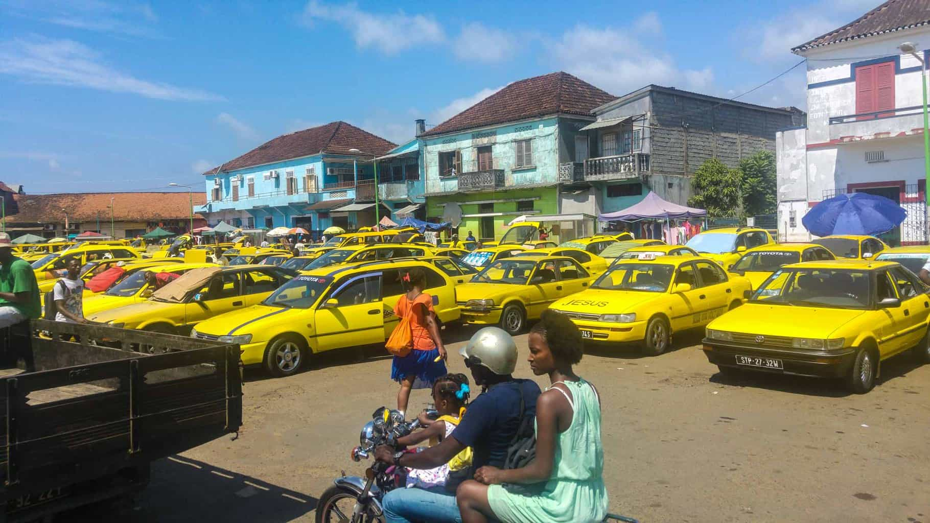 a sea of taxis in Sao Tome Travel guide
