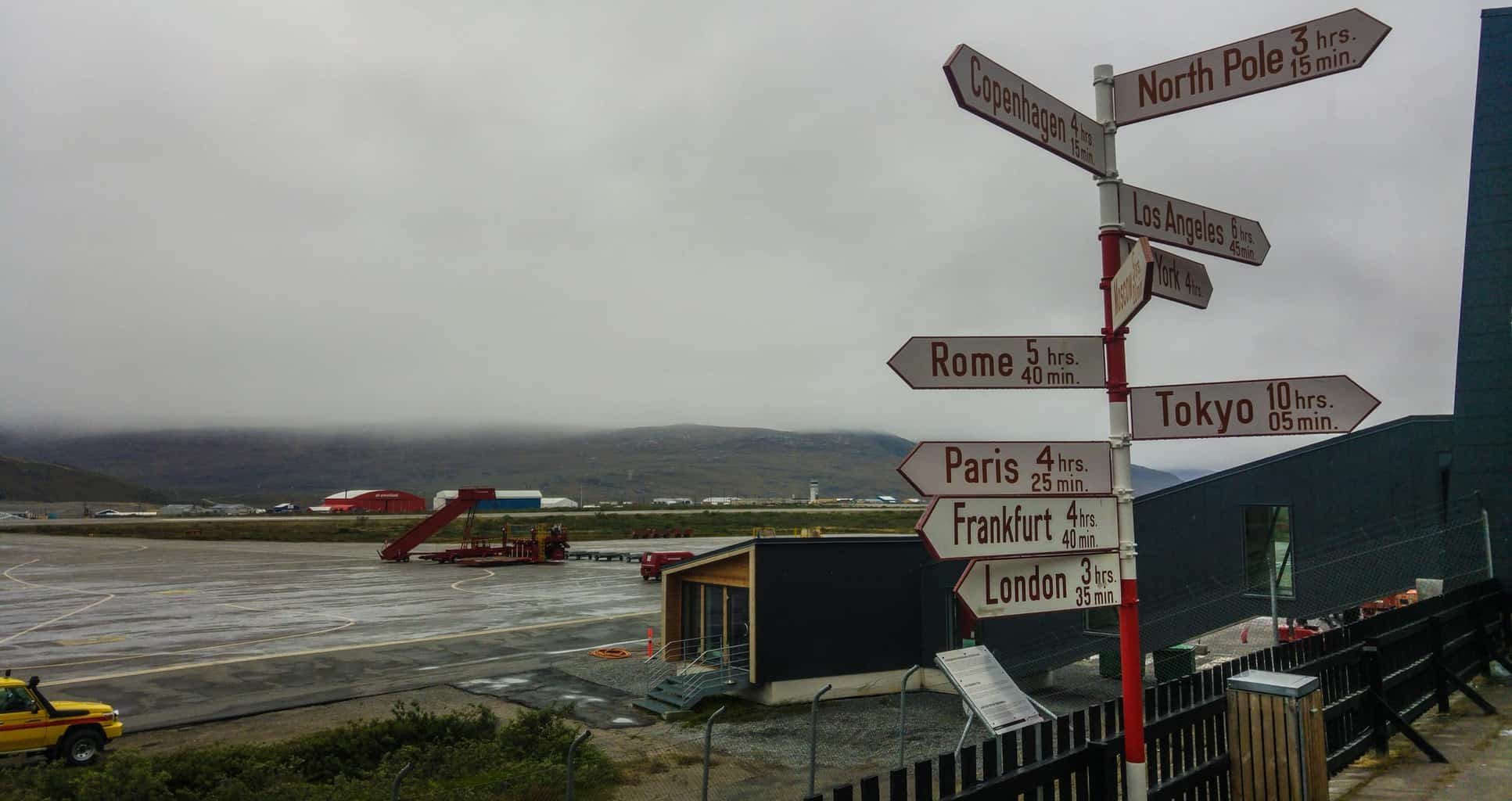 Kangerlussuaq Airport, you're closer to the North Pole from here, than to anywhere else