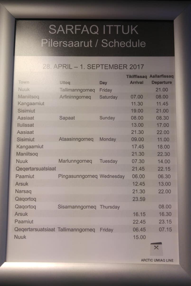 greenland ferry schedule