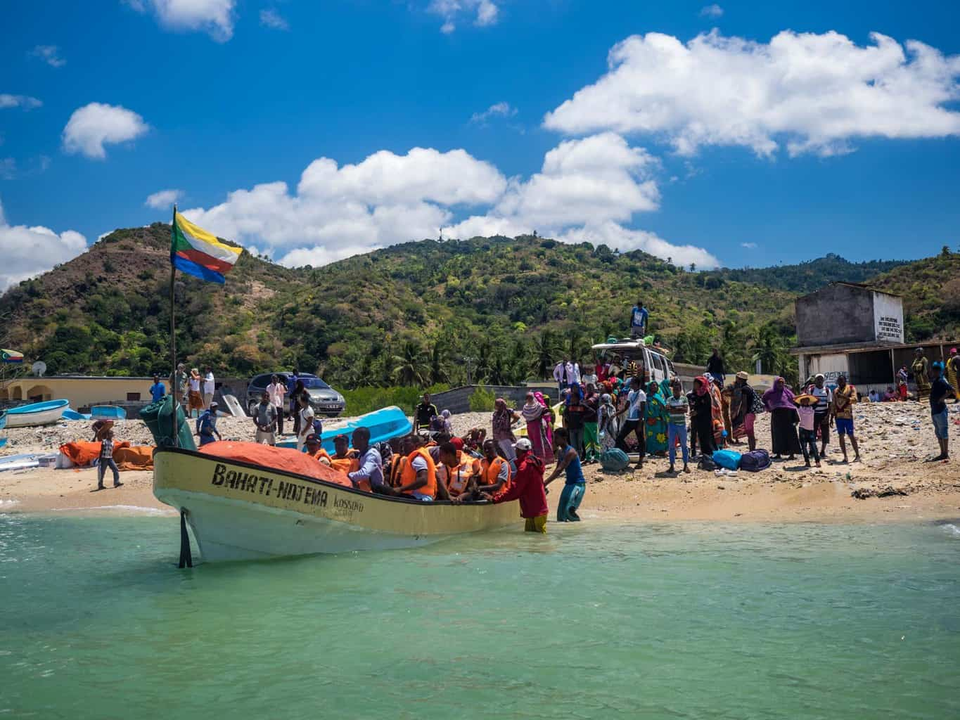"""A """"ferry"""" getting ready to depature from Grand Comoro to Moheli"""