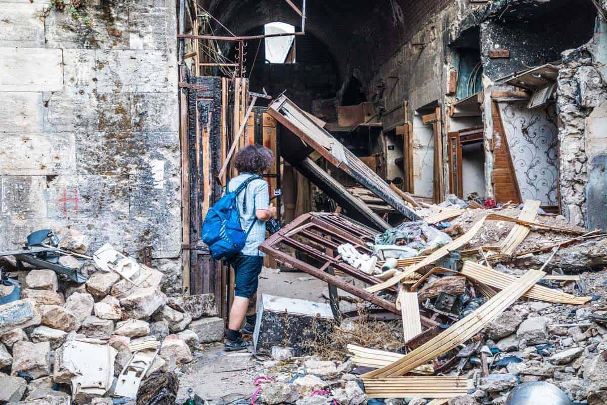 exploring the ruins of Aleppo