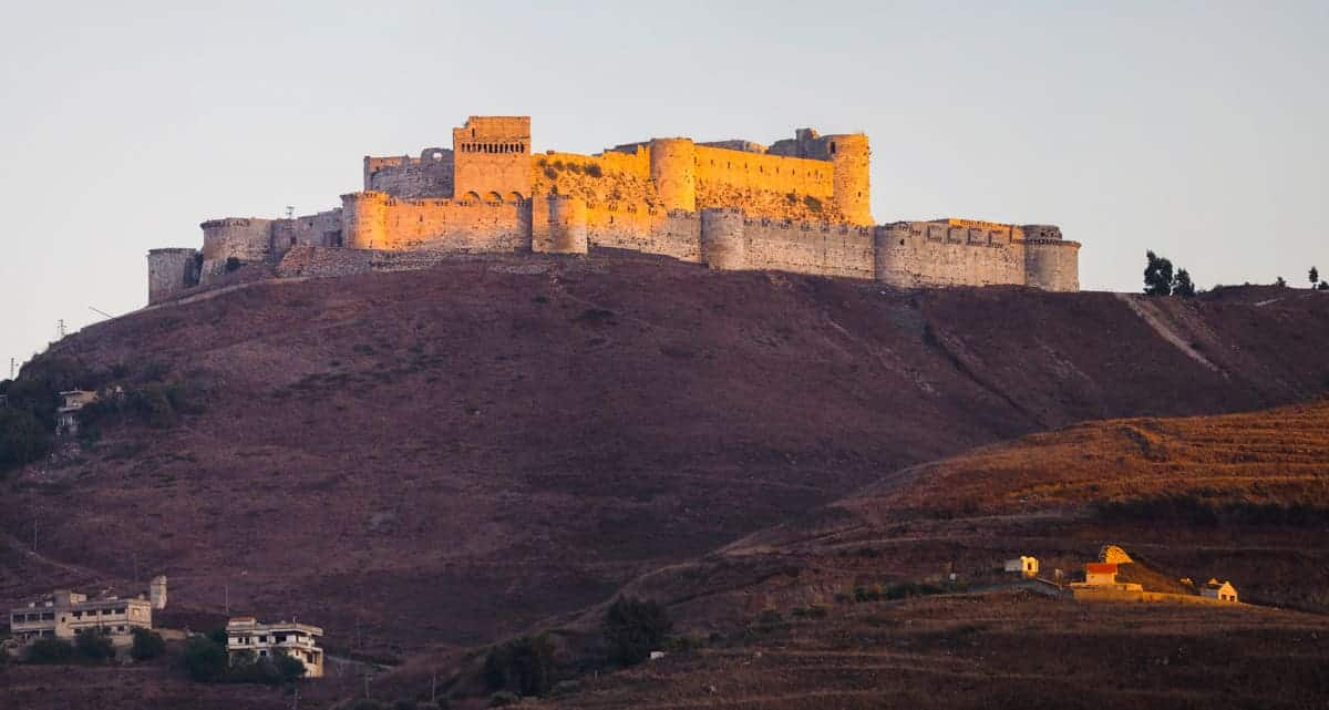 Krak des Chevaliers in Syria during sunset