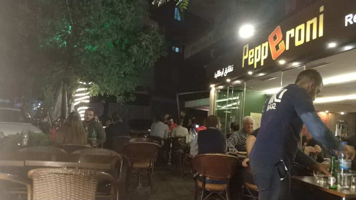 pizza and beer in Aleppo in Syria