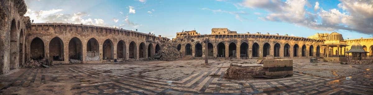 inside Aleppo Grand Mosque in 2017