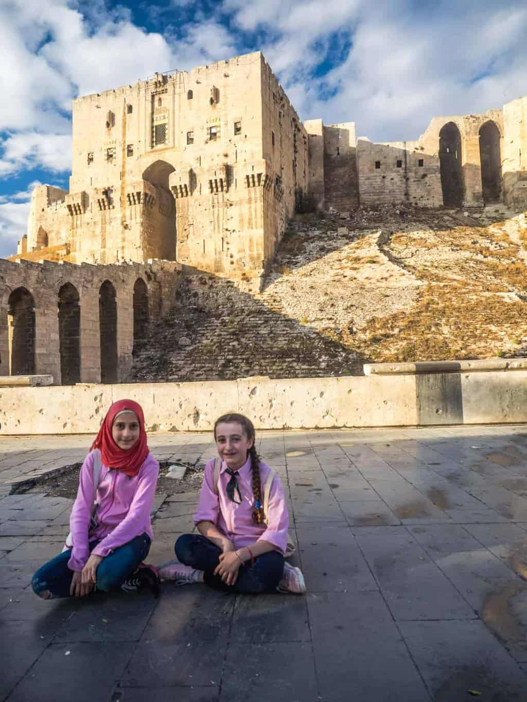 Aleppo citadel in 2017 young school kids