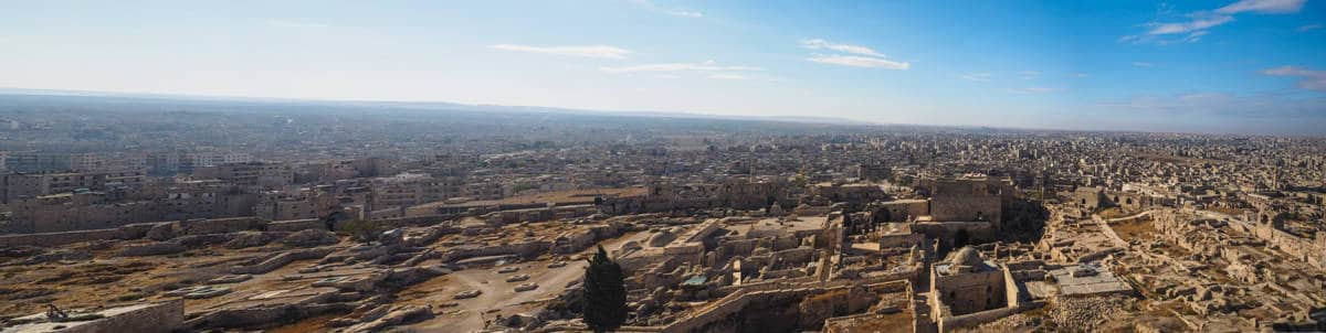 Panoramic view over Aleppo Citadel in Syria