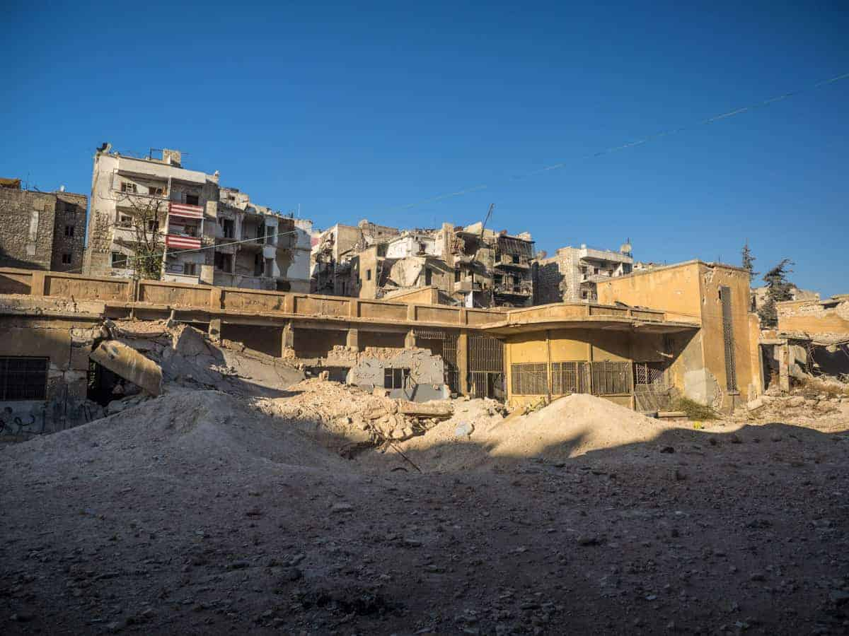 Old school used as a terroist base in Aleppo, damaged from airstrike