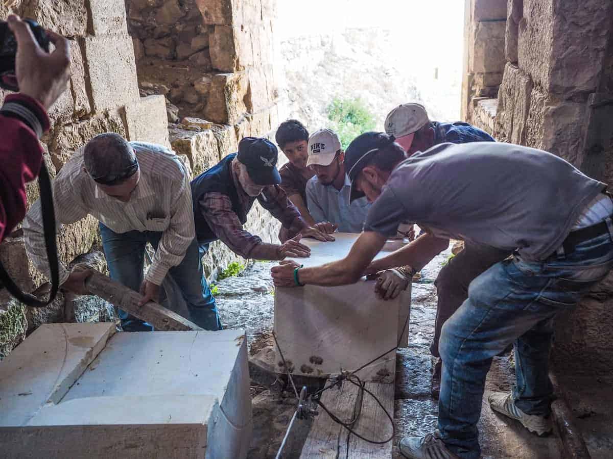 restoration work on Krak des Chevaliers in Syria