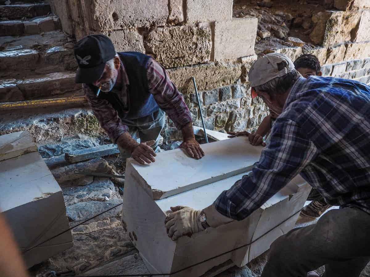 restoration work on Krak des Chevaliers